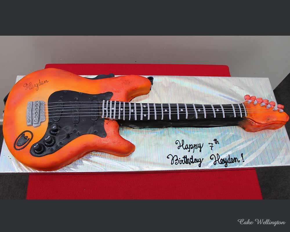 Stupendous Electric Guitar Cake Personalised Birthday Cards Akebfashionlily Jamesorg
