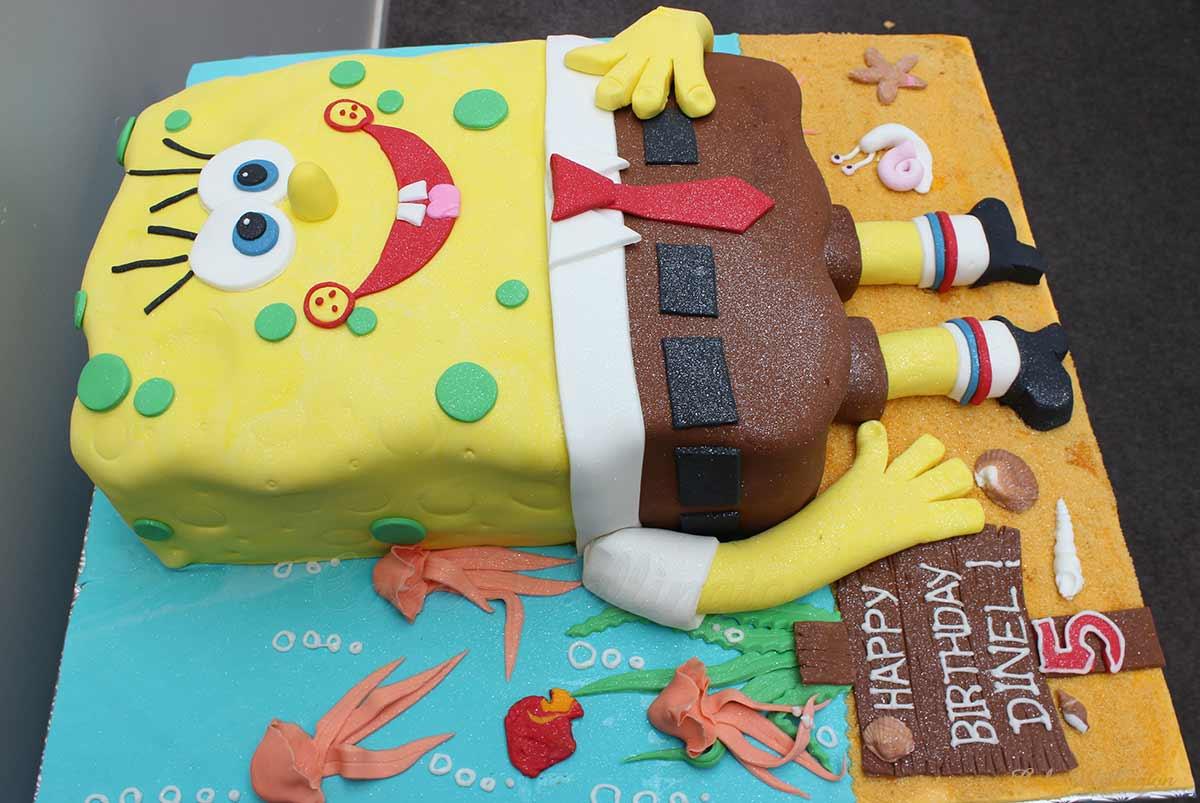 Terrific Spongebob Cake Funny Birthday Cards Online Alyptdamsfinfo